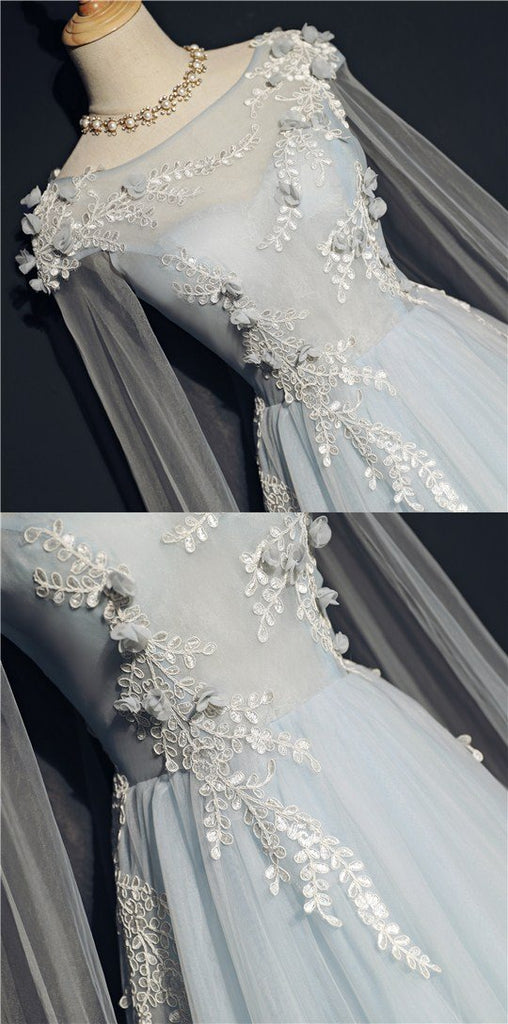 Floor length Tulle Lace appliques Boat neck Empire long wedding party dress, PD0400