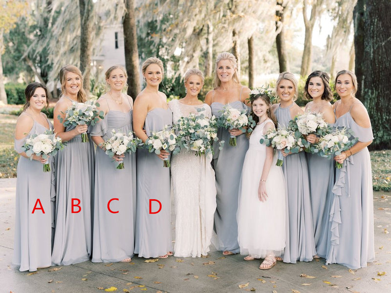 A-line Floor-length V-neck Long Chiffon Bridesmaid Dresses, BD0593