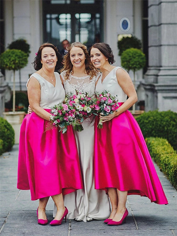 Elegant Simple V-neck Tea-length Cheap Bridesmaid Dresses, BD0601