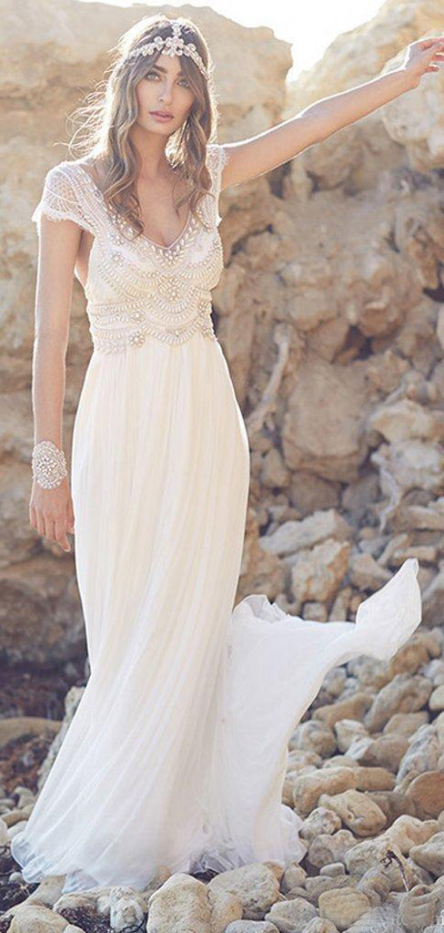 Charming A-line V-neck Sexy lace beading chiffon backless wedding dresses  , WD0336