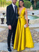 Simple Satin A-line V Neck Evening Prom Dresses, Sweet 16 Prom Dresses, OL103