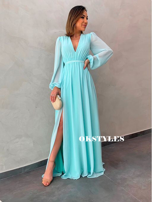 A-line V-neck Long Sleeves Long Chiffon Prom Dresses With Split, PD0624