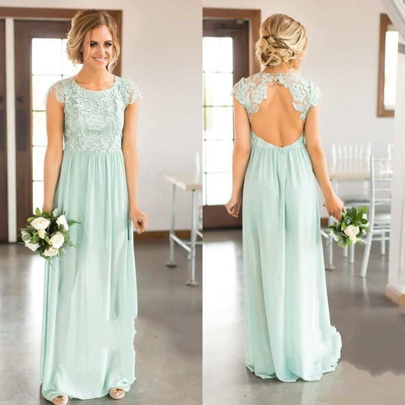 Newest Floor-length lace top chiffon backless country beach styles ...