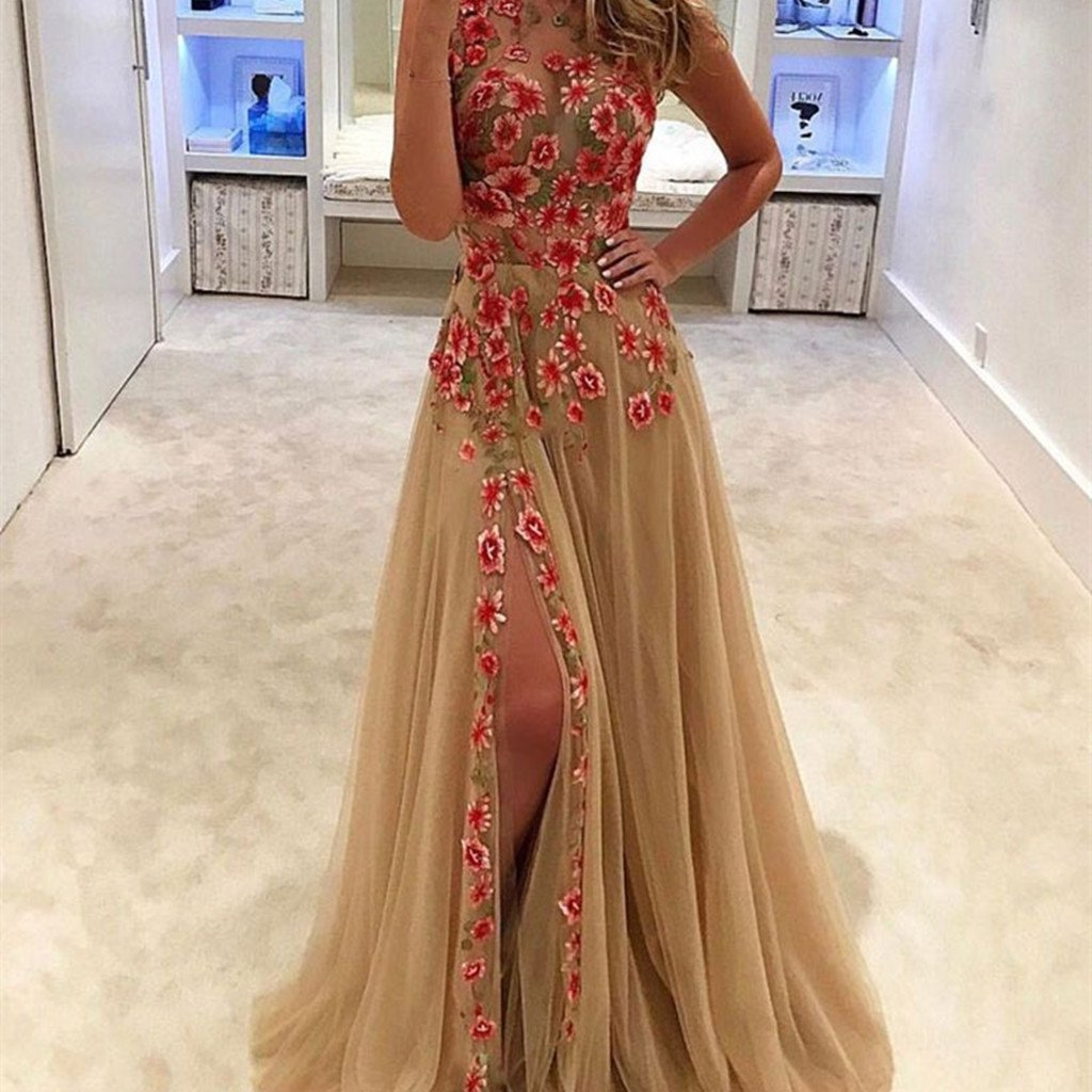 Unique tulle applique long prom dress, evening dress Floor-Length prom dresses, PD0496