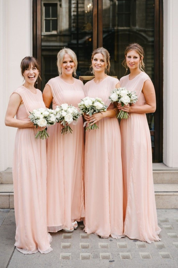 Hot selling Floor-length chiffon Round neck sleeveless simple cheap Bridesmaid Dresses, BD0457