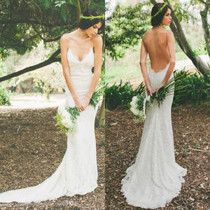 Hot style Elegant V-neck Backless Spaghetti Strap White Full lace Wedding Dress , WD0407