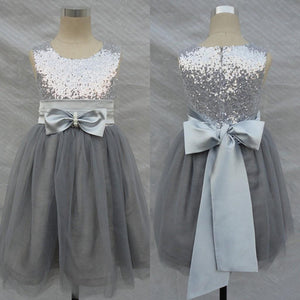 Charming Grey Sequins Tulle Round Neck Flower Girls Dresses with Bow, FG0122
