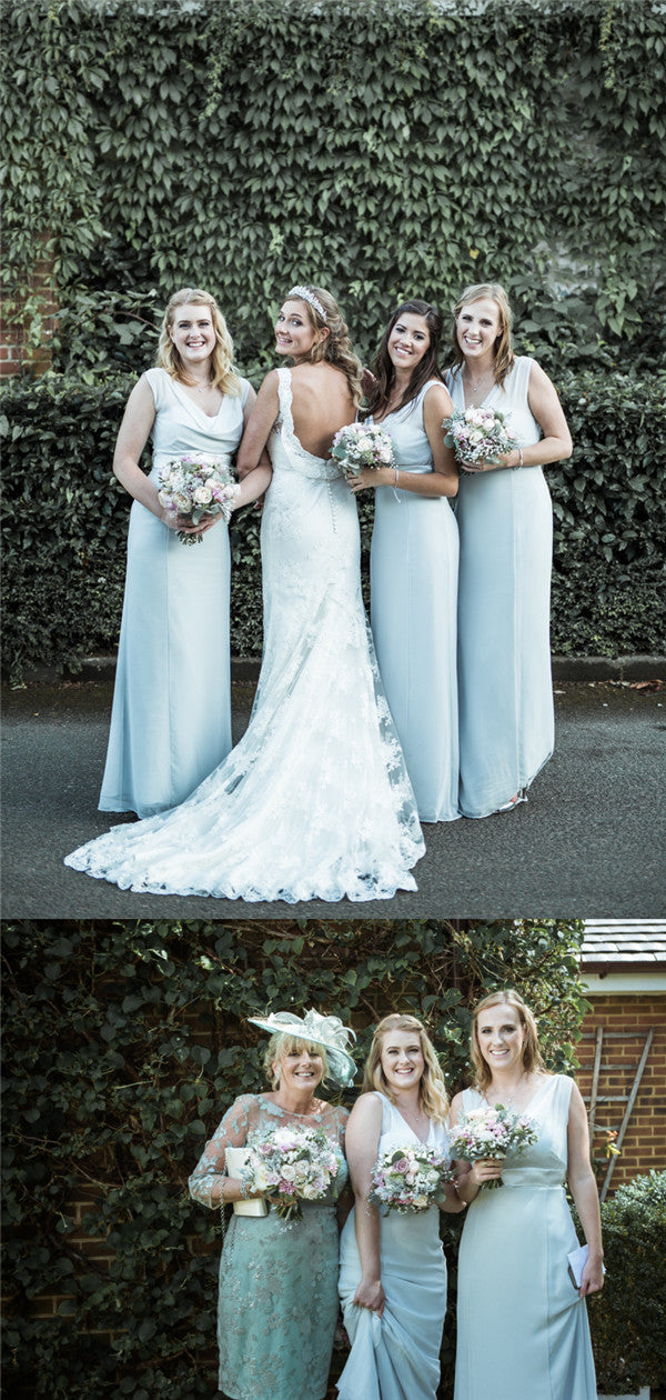 Sheath Floor-length Sleeveless Long Chiffon Zipper Bridesmaid Dresses, BD0609