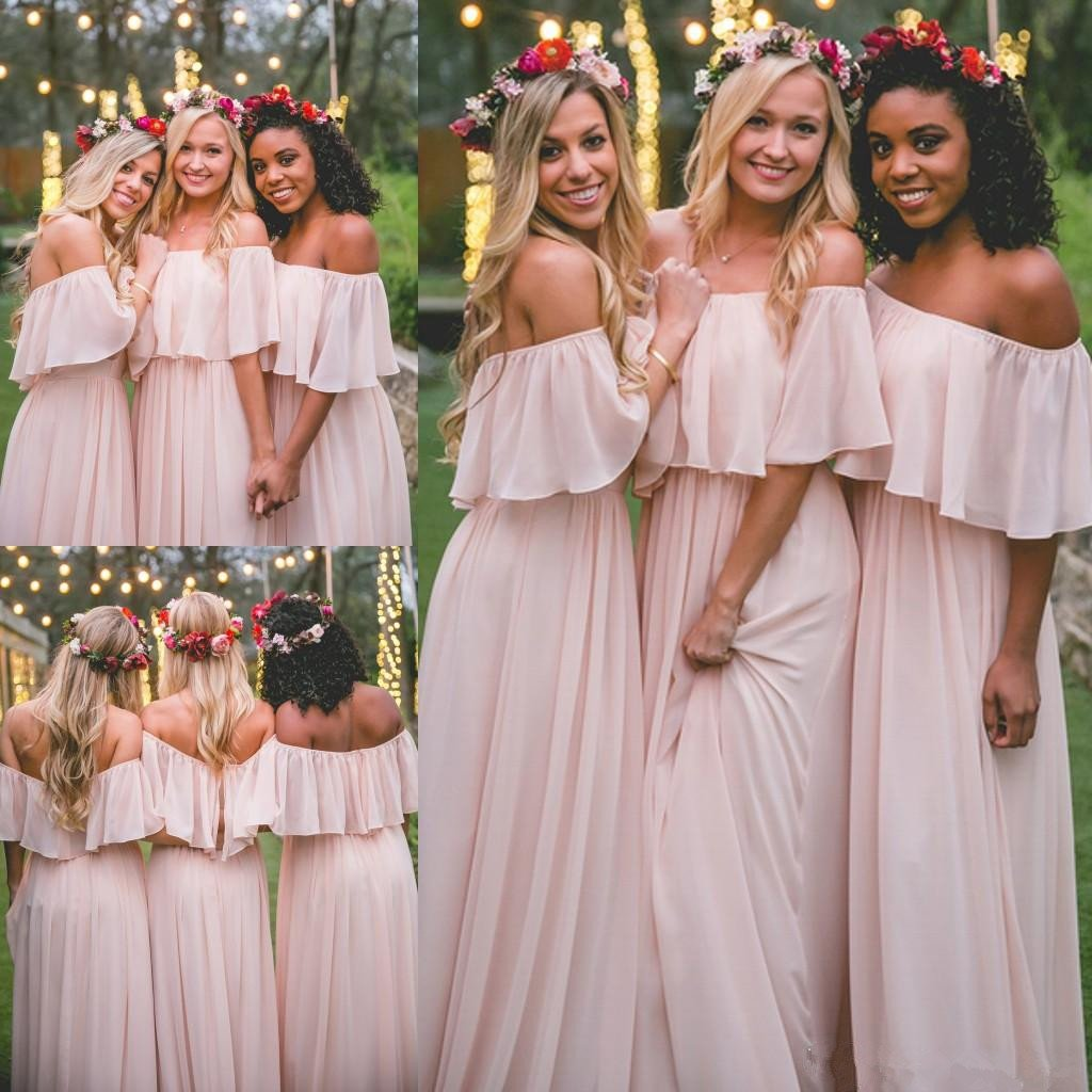 New Arrival Floor Length Off-Shoulder Long Pleated Beach Pink Bridesmaid Dresses, BD0419