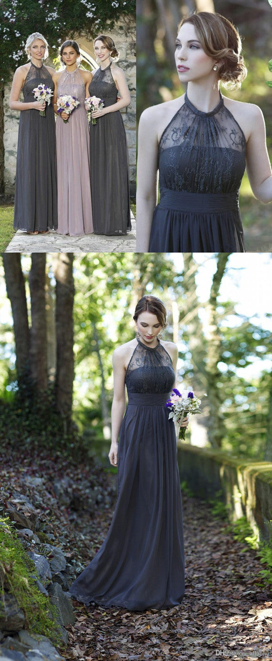 Romantic A-line Halter Chiffon Lace top Wedding Party Dresses, Long Bridesmaid Dress, BD0510