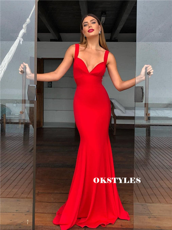 Mermaid Straps V-neck Backless Long Red Prom Dresses, PD0580
