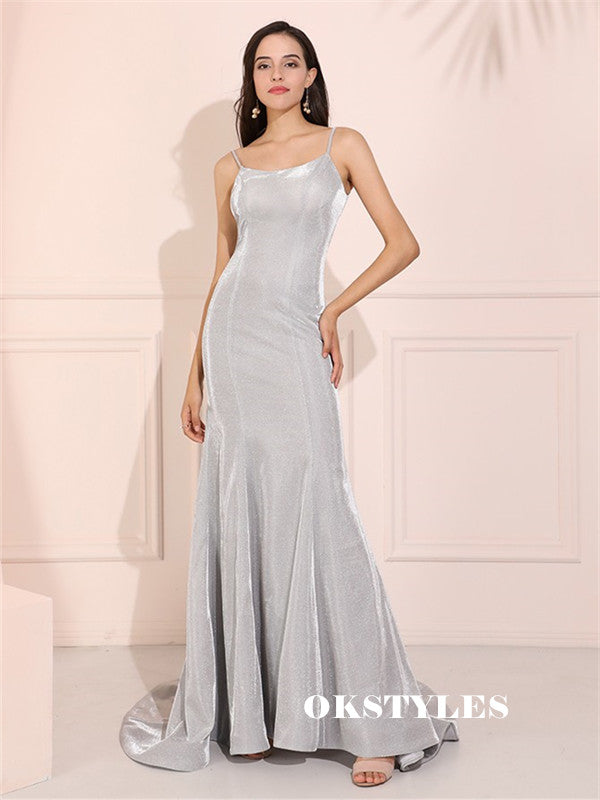Mermaid Spaghetti Straps Scoop Neck Long Sliver Prom Dresses, PD0598