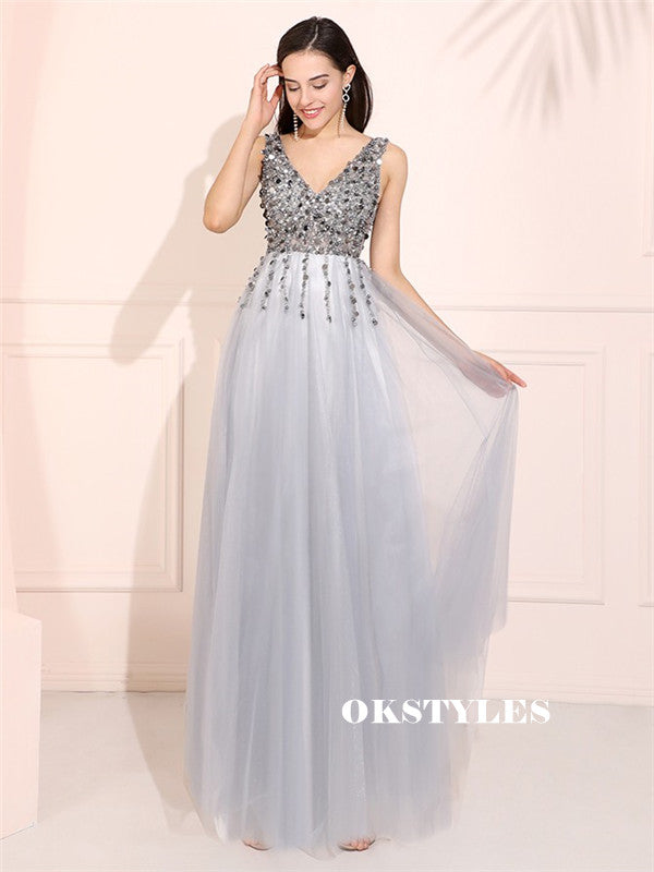A-line V-neck Sequins Top Backless Long Tulle Prom Dresses, PD0599