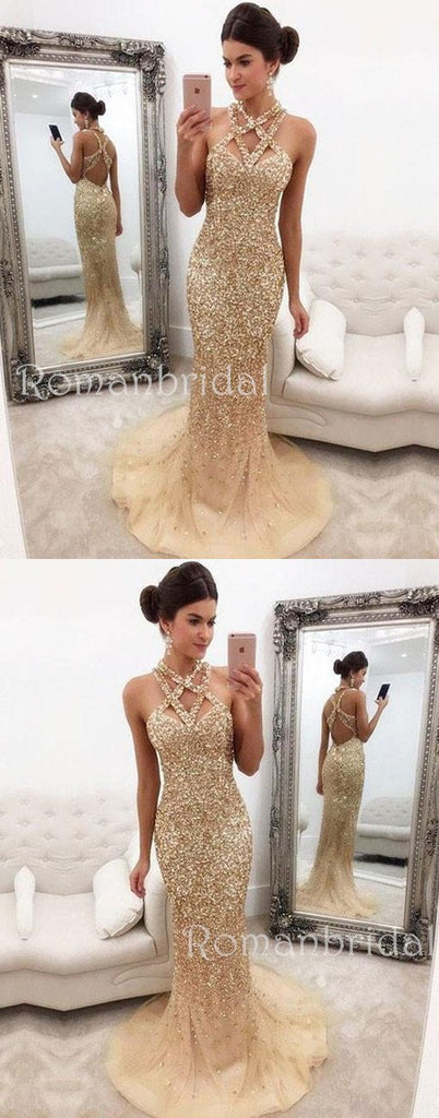 Champagne Mermaid Zipper-Back Crystals Gorgeous Halter Sleeveless  Long Prom Dress, PD0500