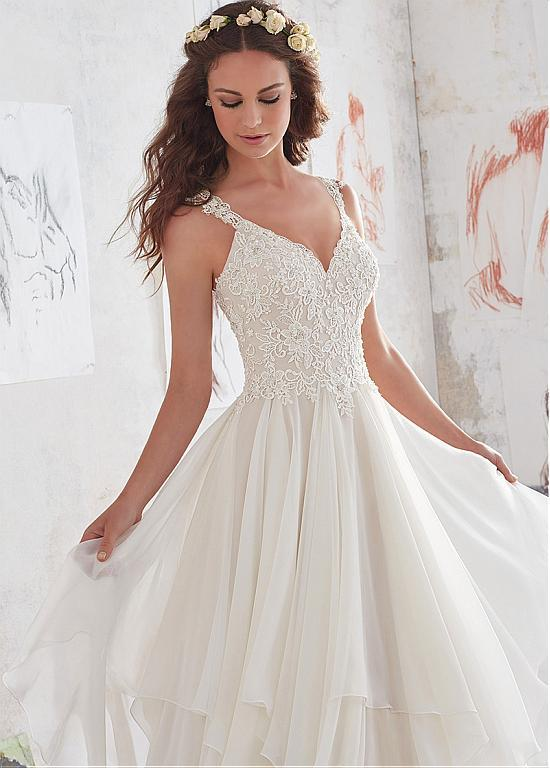 Amazing  Chiffon V-Neck A-Line Beaded Lace Appliques Wedding Dresses, WD0332