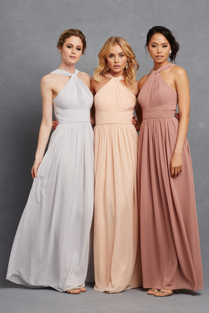 Romantic Halter Chiffon Floor-length cheap sleeveless long Bridesmaid dresses , BD0436