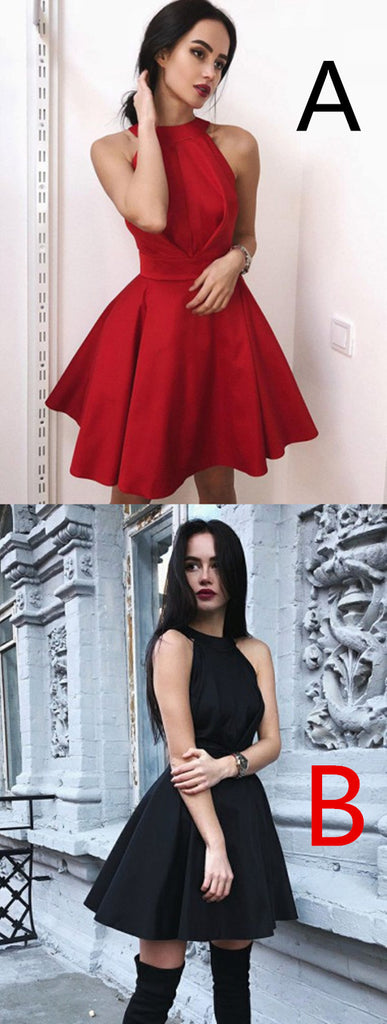 Newest Simple Halter Red Cheap Backless Short Homecoming Dress, HD0401
