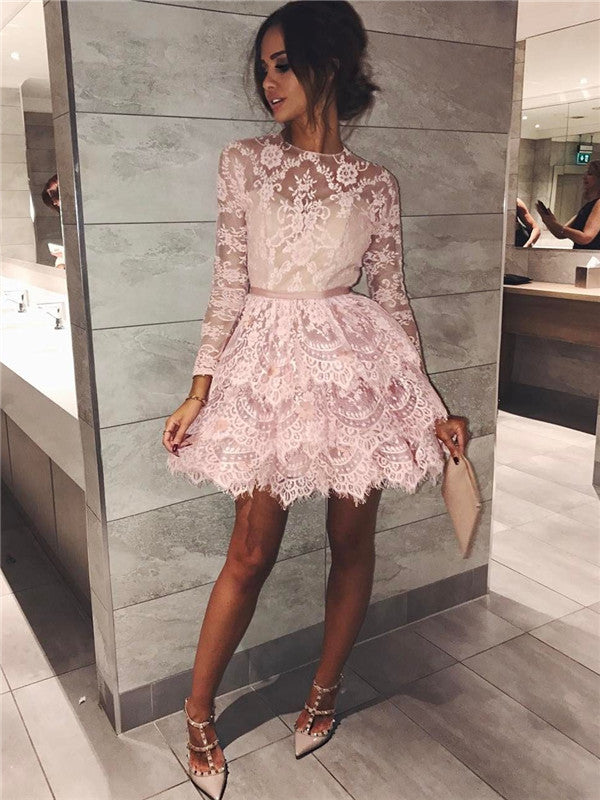 A-line Long Sleeves Lace See-though Short Homecoming Dresses, HD0500