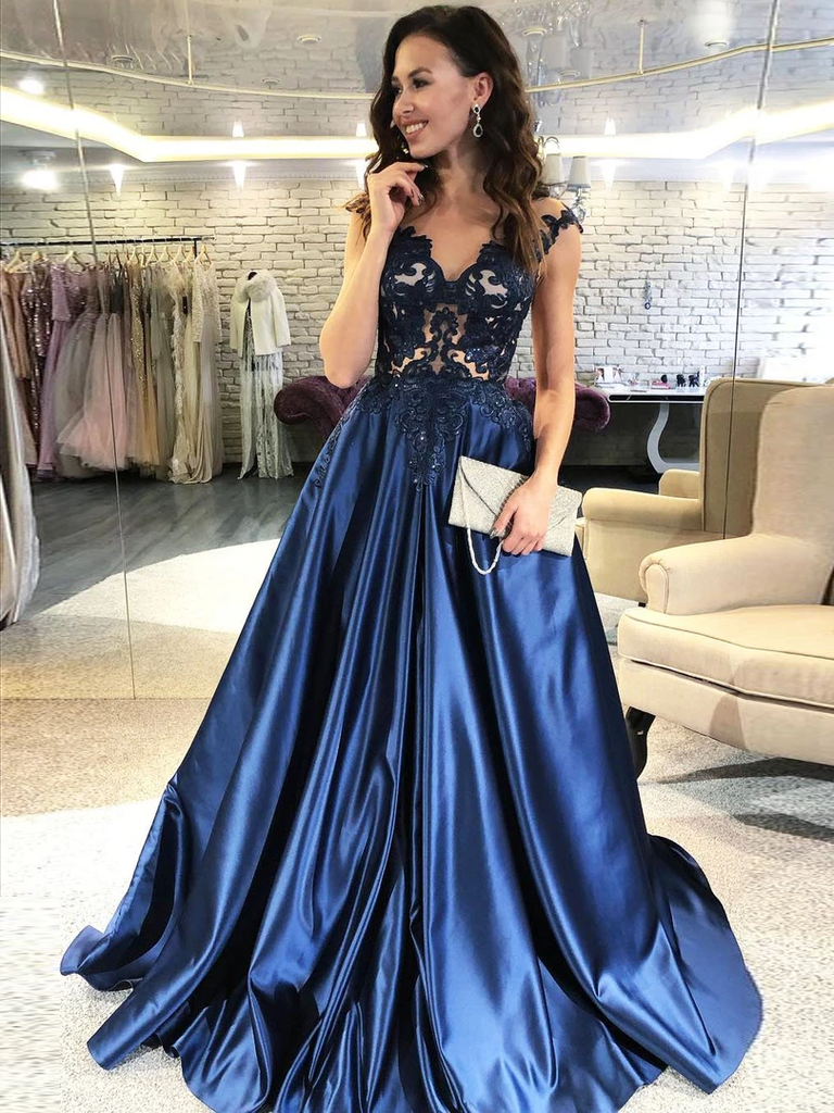 A-line Cap Sleeves See-though Appliques Long Navy Blue Prom Dresses, PD0567