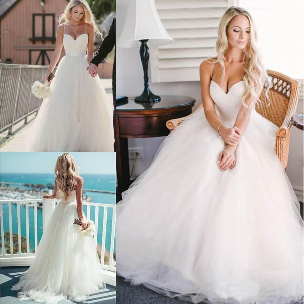 Charming Beauty Spaghetti strap sweetheart tulle beach bridal gown, wedding Dress, WD0317