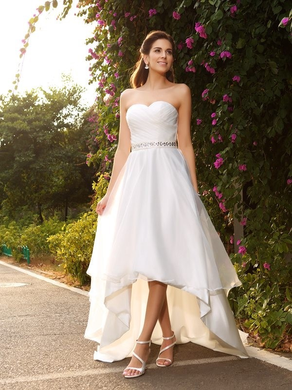 Sweetheart Beading Sleeveless Short front Long Behind Organza Cheap Wedding Dress, WD0374