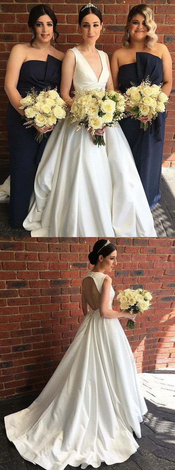 Newest Deep V-neck Backless Simple Cheap Sleeveless Wedding dresses , WD0411