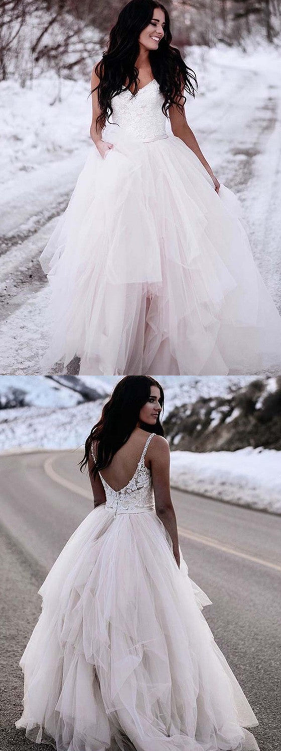 Charming Spaghetti Straps Lace Top Backless Tulle Wedding dresses With Train, WD0414