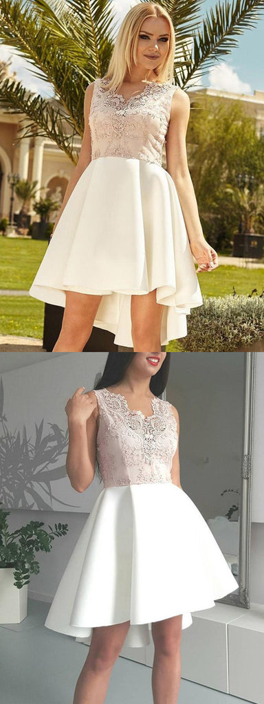 Amazing Lace Appliques Top V-neck Sleeveless Short Homecoming Dresses, HD0456