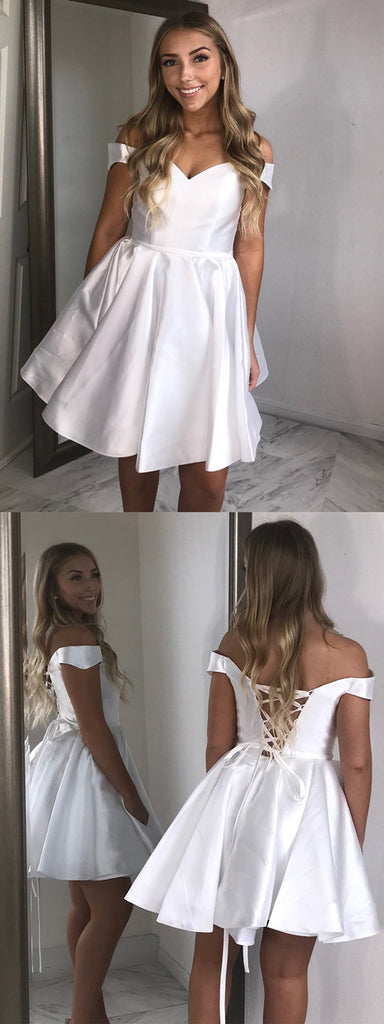 Newest Off-shoulder White Lace Up back Simple Cheap Homecoming Dresses, HD0442