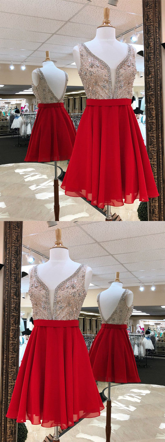 A-line Deep V-neck Backless Beading Red Chiffon Homecoming Dresses, HD0465
