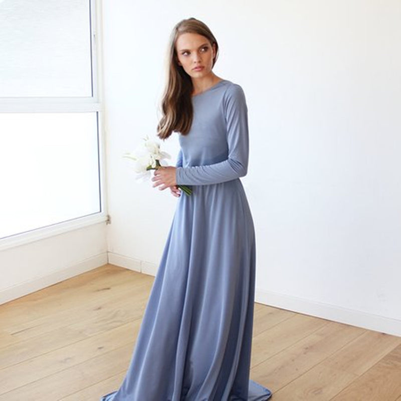 Elegant Long Sleeves Backless Simple Cheap Bridesmaid Dresses, BD0560