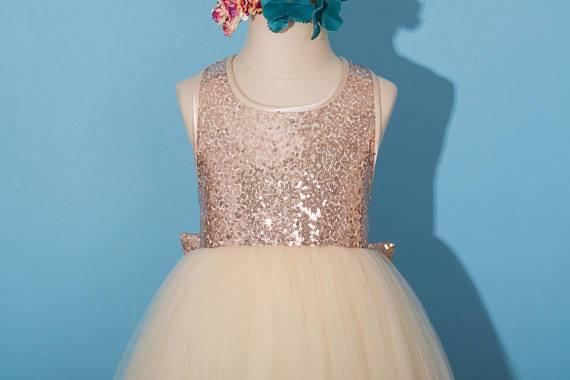 Rose gold sequins dress, pageant dress, rose gold flower girl dress, tulle Flower girl dresses, FG0114