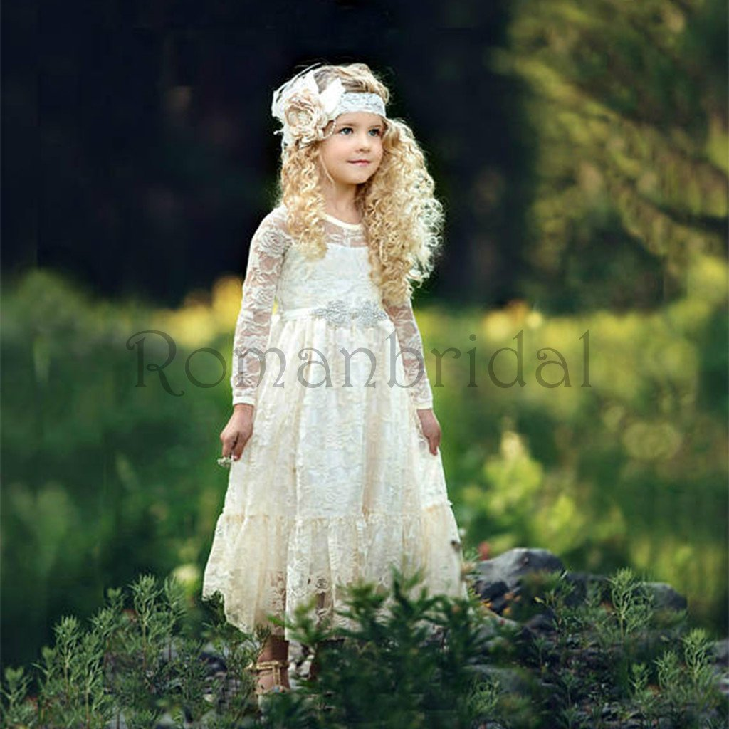 New Arrival  girl lace dress, country lace dress, ivory lace dress,Rustic flower girl dress,long sleeve lace dress,Flower girl dresses, FG0113