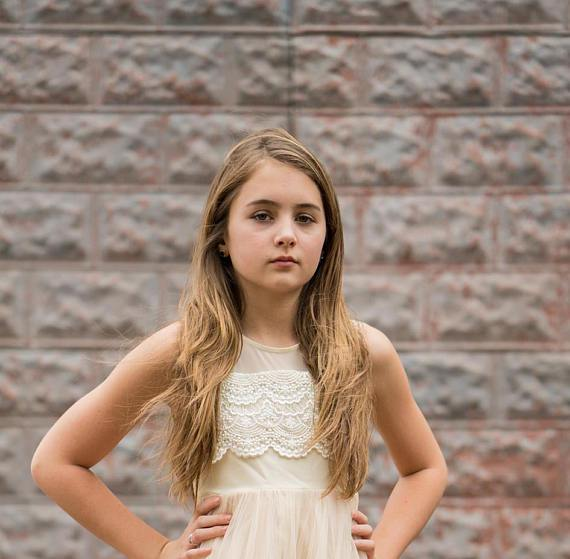 Flower girl dress, ivory flower girl dress, girls dress, country flower girl, ivory lace dress, FG0126