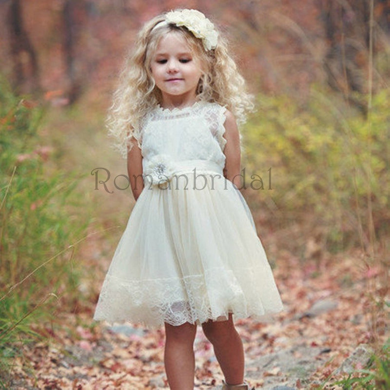 Silver Sequin Top V-back White Tulle A-line Flower Girl Dresses, Junior Bridesmaid Dresses, FG062