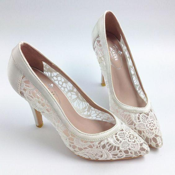 Lace Wedding Shoes.Sexy See Through High Heels Pointed Toe Lace Wedding Bridal Shoes S001