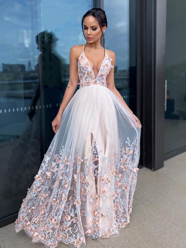 Beautiful A-line Applique V Neck Evening Prom Dresses, Long Prom Dresses, OL077