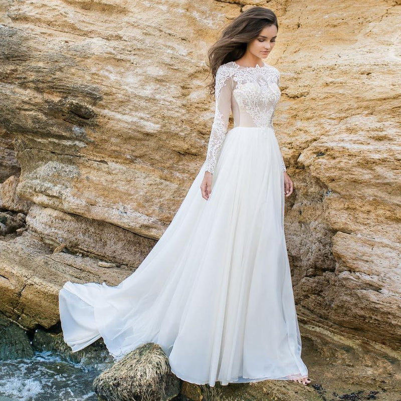 Beach Wedding Gown: Long Sleeve White Lace Bodice Chiffon Skirt Elegant Simple