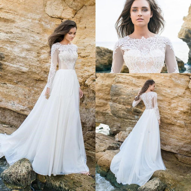 Discount Simple Elegant Open Back Long Sleeve Wedding: Long Sleeve White Lace Bodice Chiffon Skirt Elegant Simple
