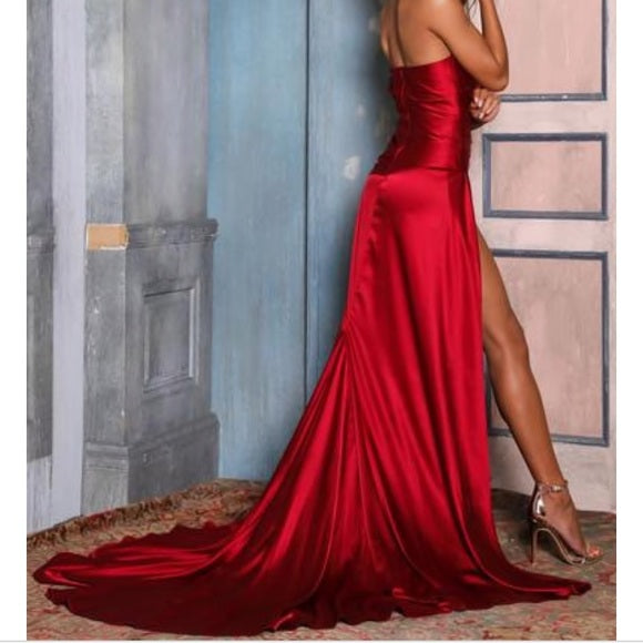 Sheath Straps One-shoulder Long Red Prom Dresses With Split, PD0581