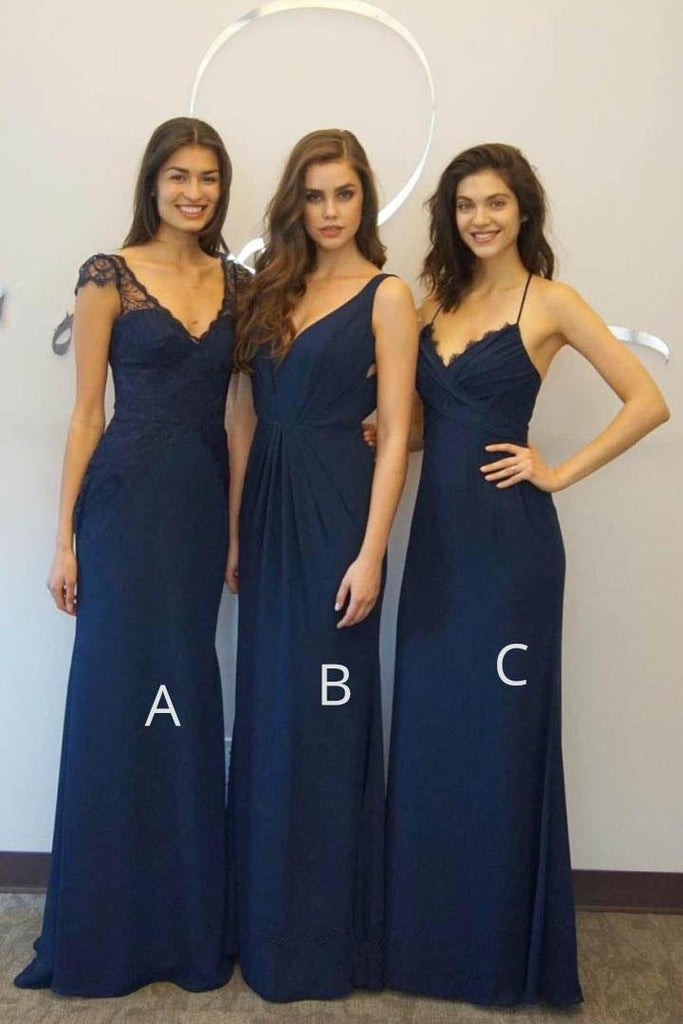 Elegant A-line Floor-length Navy blue Chiffon V-neck  Bridesmaid Dresses, BD0495