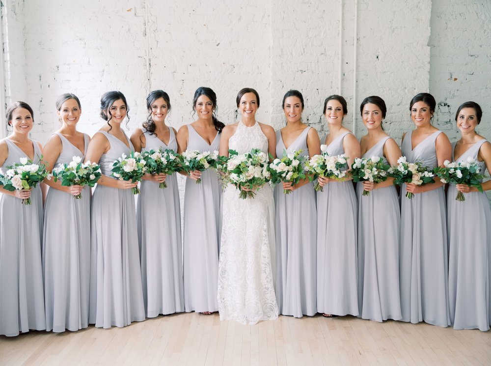 A-line V-neck Chiffon Long Bridesmaid Dresses With Pleats, BD0590