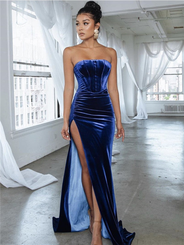 A-line Floor-length Deep V-neck Lace Appliques Long Prom Dress With Pleats, PD0134