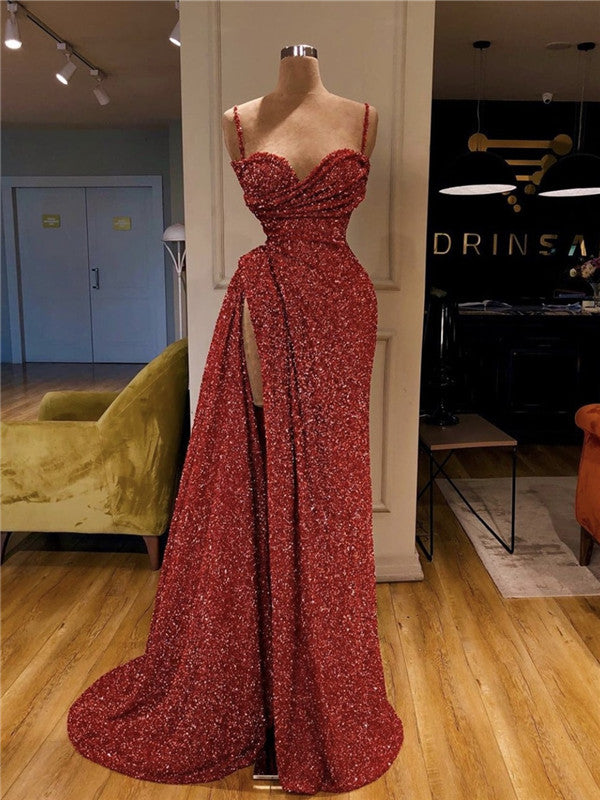 Mermaid Strapless Deep V-neck Long Red Prom Dresses With Split, PD0641