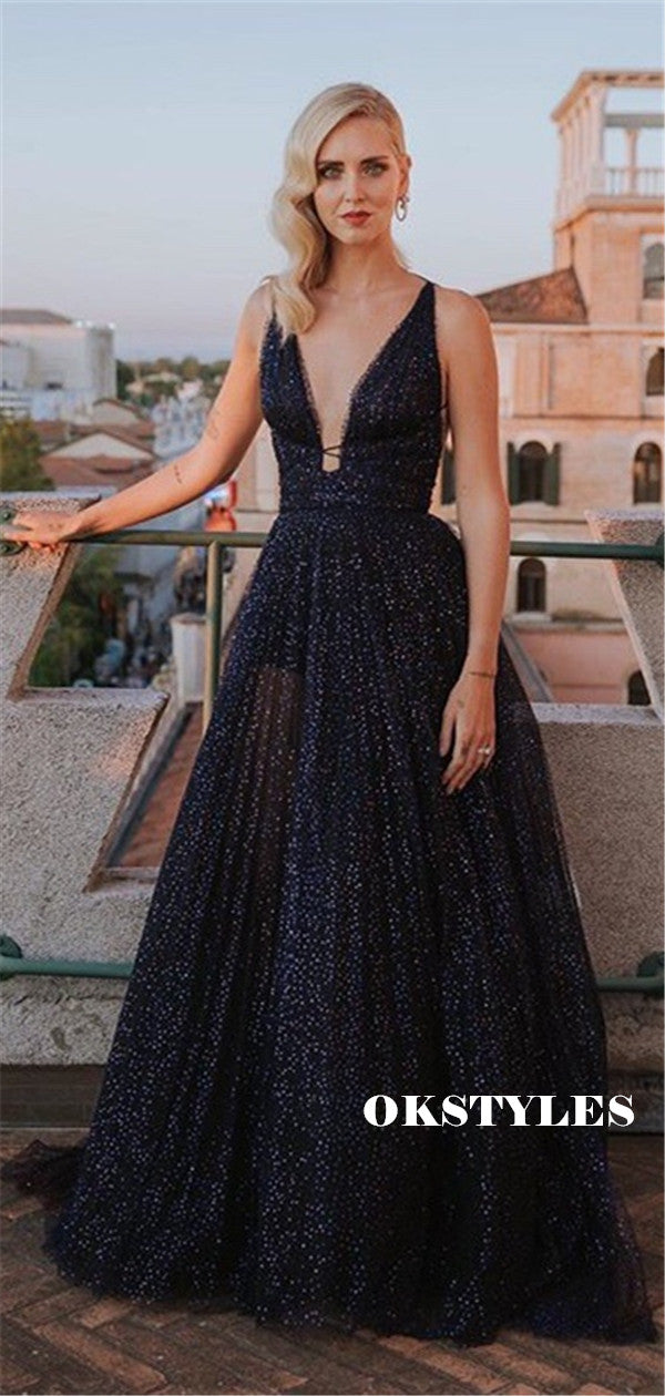 A-line Deep V-neck Sleeveless Long Tulle Sparkly Prom Dresses, PD0579