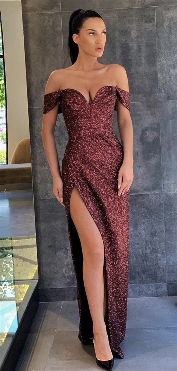 Off-shoulder Sheath Long Burgundy Prom Dresses With Split, PD0573