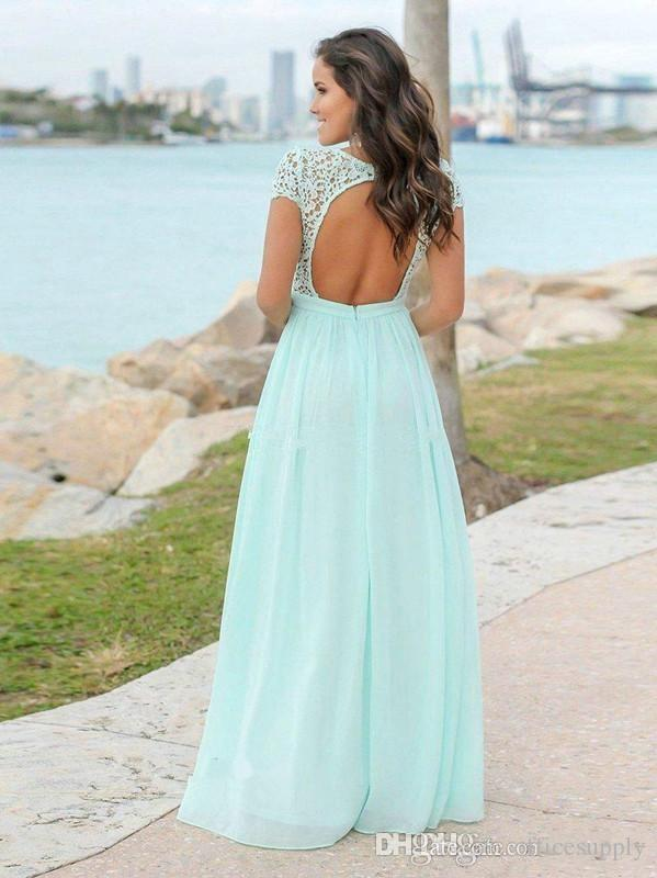 1e92b12c2b6e Mint Green V-neck Backless Cap Sleeves Chiffon Bridesmaid Dresses, BD0562