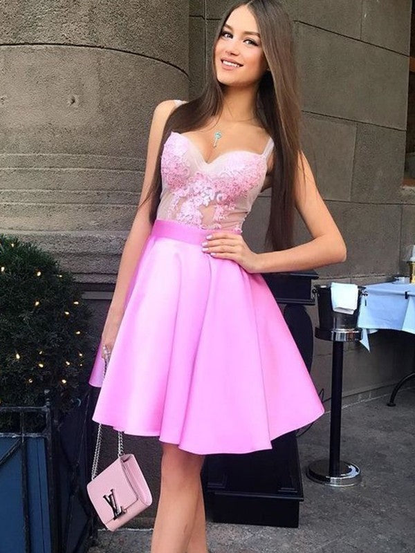 A-line Spaghetti Straps V-neck Pink Lace Appliques Homecoming Dresses, HD0490
