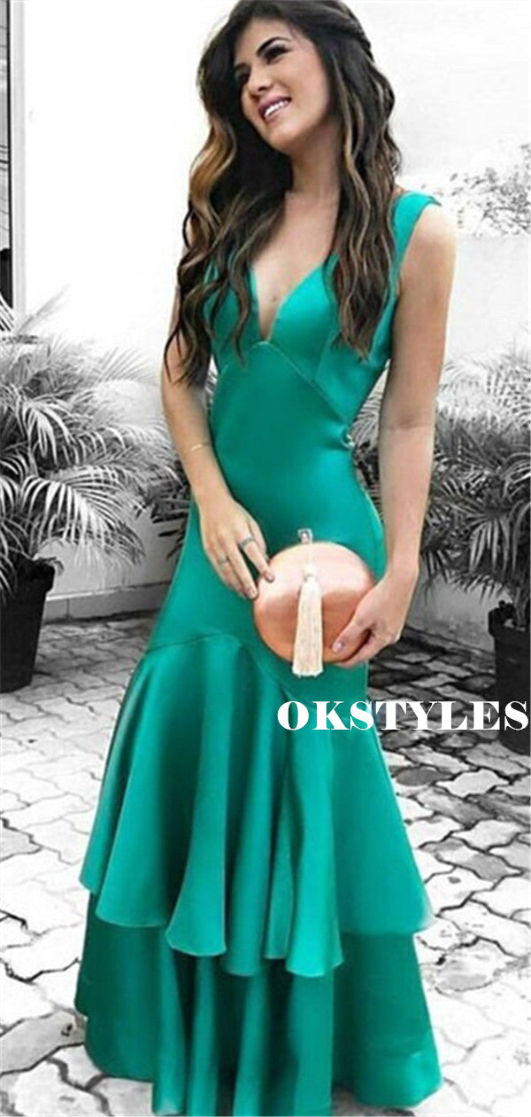 Mermaid V-neck Backless Long Cheap Prom Dresses With Ruffles, PD0600