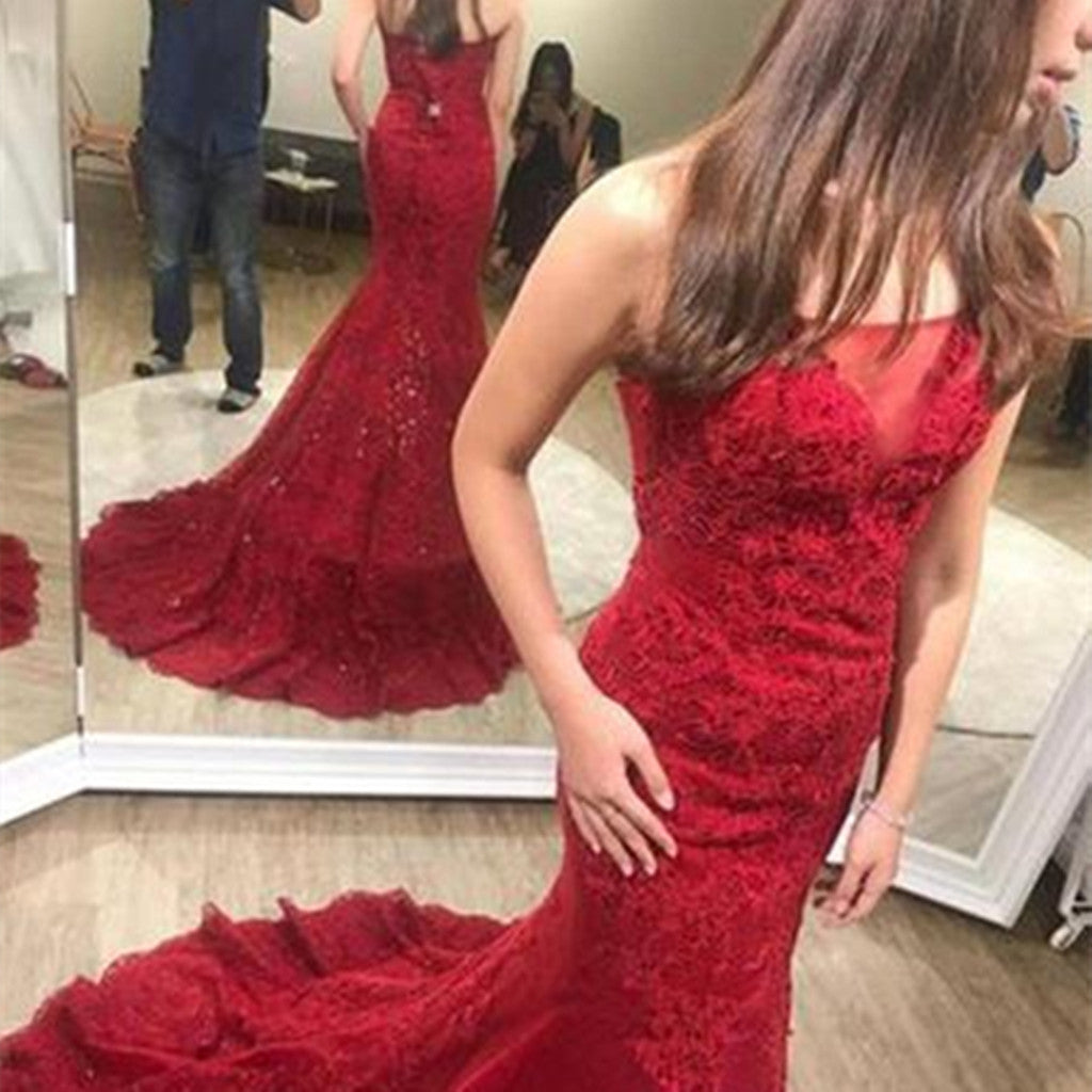 Charming Red Appliques Mermaid Prom Dress, Sexy Long Evening Dresses, Tulle Sleeveless Trumpet Prom Dresses, PD407